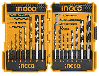 Ingco 16 Piece Metal, Concrete and Wood Drill Bits Set